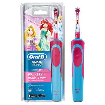 Oral-B Stages Power Kids Electric Toothbrush, Princess Theme - Blue/Pink