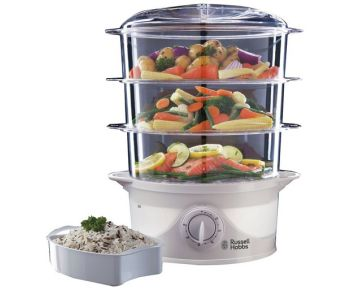 Russell Hobbs 3 Tier 9 L Capacity 800 W Food Steamer 21140 - White