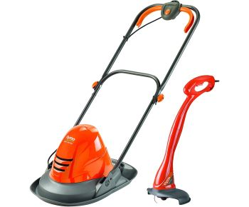 Flymo TurboLite Hover Mower and MiniTrim Grass Trimmer – 1400 W, 25 cm Cutting Width, Ambidextrous Handles, Folds Flat