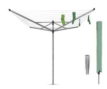 Brabantia Rotary Airer Washing Line, Metal, Silver, 60 m