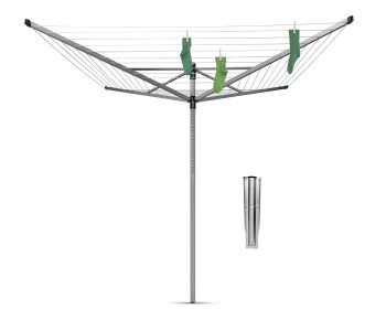 Brabantia Lift-O-Matic Large Rotary Airer Washing Line with Metal Soil Spear, 60 m - Silver