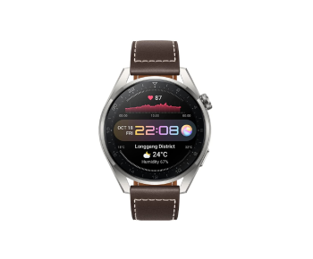 Huawei Watch 3 Pro Classic 48mm Titanium Grey - Brown Leather Strap