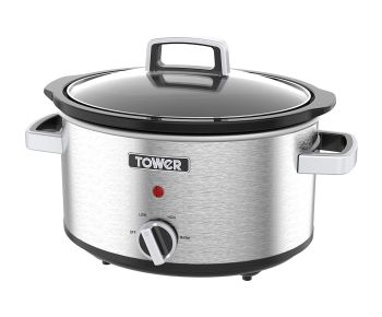 Tower T16018 3.5 L Stainless Steel Slow Cooker - Silver