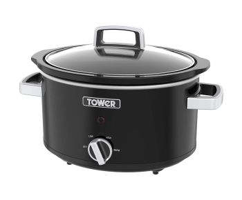 Tower Stainless Steel 3.5 L Slow Cooker with 3 Heat Settings T16018BL - Black