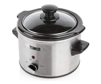 Tower T16020 1.5 L Stainless Steel Slow Cooker - Silver
